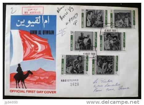 UMM AL QIWAIN: Lettre Recommandée FDC Theme Cinema (4 Mars 1969) 6 Valeurs - Kino