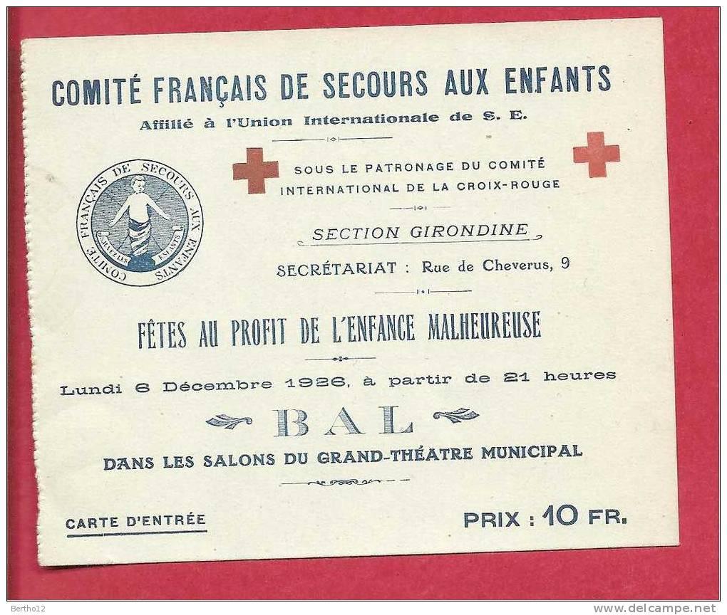 Fete Au Profit De L Enfance  Malheureuse - Eintrittskarten
