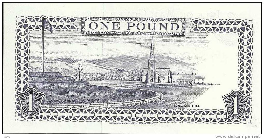 ISLE OF MAN 1 POUND PURPLE QEII HEAD FRONT BUILDINGS BACK DATED ND(1983) P.40b SIGN 6  UNC  READ DESCRIPTION ! - [ 4] Isle Of Man / Channel Island