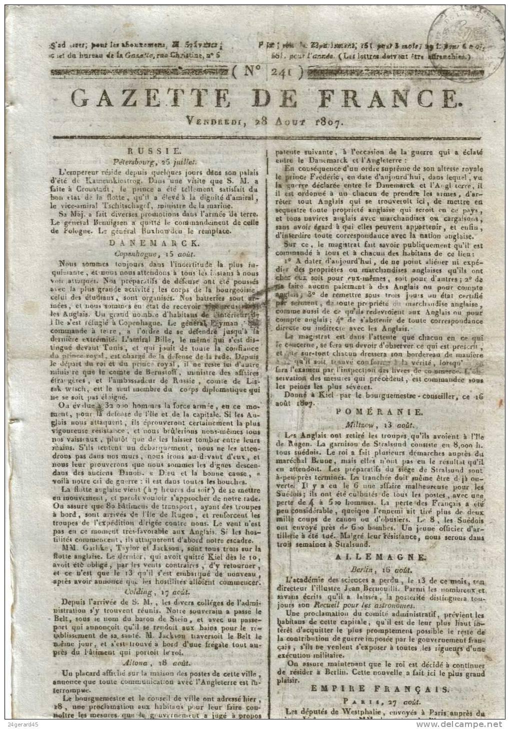 """JOURNAL QUOTIDIEN """"GAZETTE DE FRANCE"""" N°241 DU 28/08/1807 - 1er Quotidien De France L´ancêtre Du J.O - Kranten"""