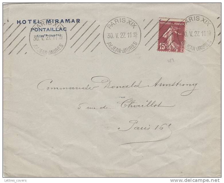 """1927 Semeuse 189 Obl ESSAI """"PARIS XIX AV.JEAN JAURES"""" Sur Lettre Imprimé - Marcophilie (Lettres)"""