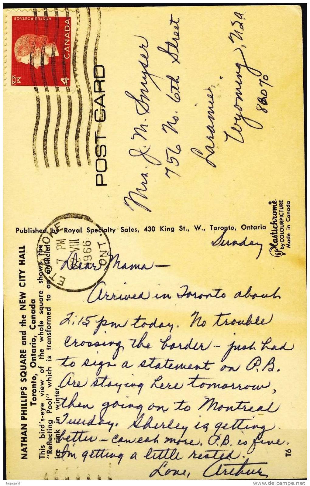Q294. Canada 1966. Postcard Used. - Cartes Modernes