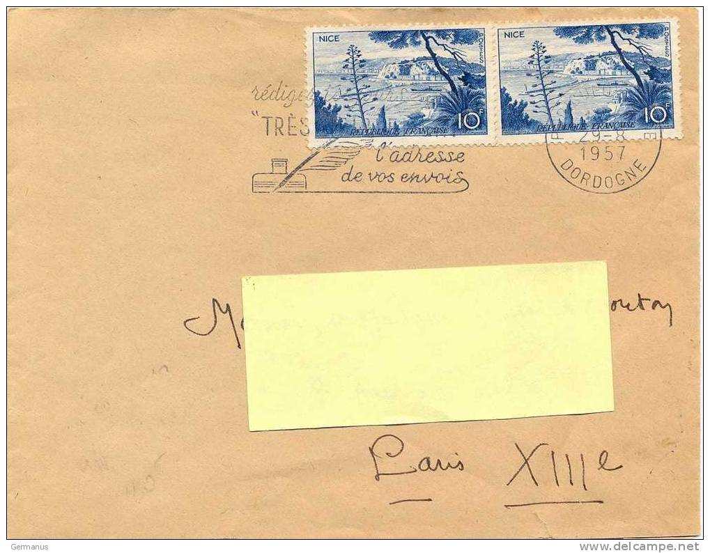 2 TP NICE 10f OM SECAP PERIGUEUX-GARE DORDOGNE Du 29-8-1957 - Postmark Collection (Covers)