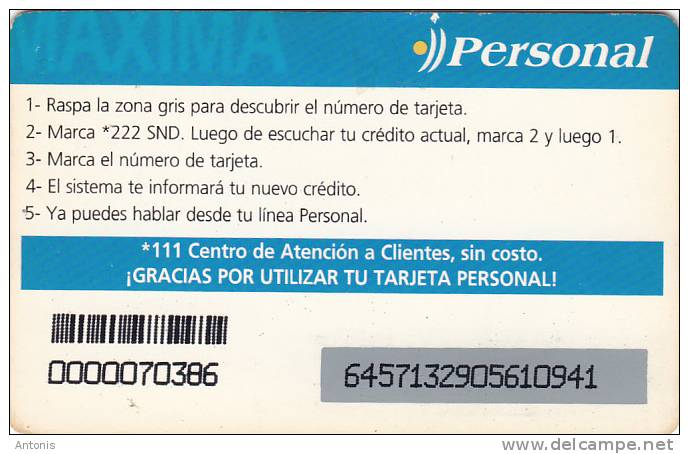 PARAGUAY - Personal Maxima Prepaid Card Gs 50000, Used - Paraguay