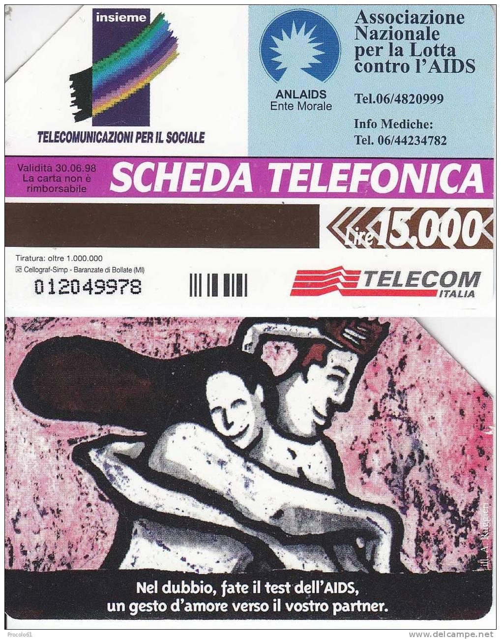 GOLDEN 524 LOTTA CONTRO L' AIDS 15.000 15000 Lire Us. - Pubbliche Figurate Ordinarie