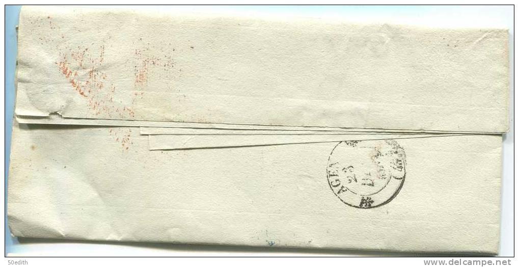Ministère Des Finances/administration Des Contributions Indirectes/lettre Pour Le Prefet D'Agen - Postmark Collection (Covers)