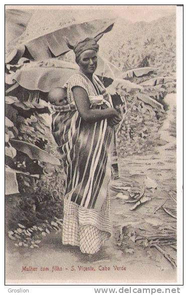 CABO VERDE  MULHER COM FILHO SAN VICENTE  (FEMME ET ENFANT BEAU PLAN) - Cap Vert
