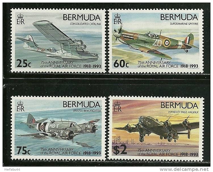 "Bermuda    ""Royal Air Force""    Set   SC# 648-51 Mint - Airplanes"