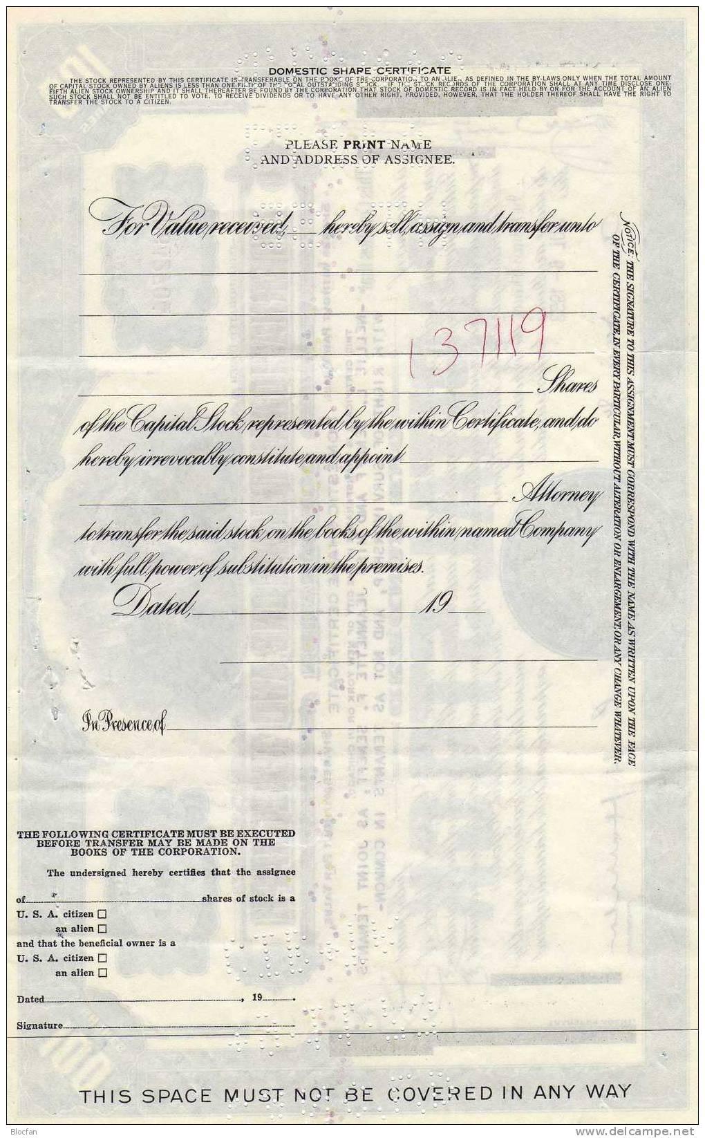 1953 USA International Telephone And Telegraph Corporation 100Shares Chigago Trust&Saving Bank Original-Aktie Seneff&CO. - Electricidad & Gas