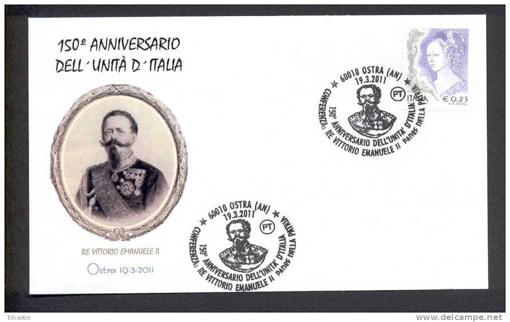 ITALY ITALIA 2011. SPECIAL POSTMARK.KING VITTORIO EMANUELE II. 150 ANNIVERSARY OF UNIT OF ITALY. Ostra. - Beroemde Personen