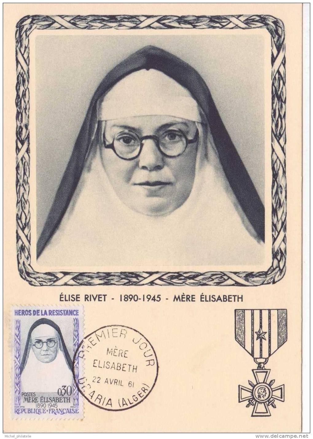 Carte  Maximum , Premier Jour Alger Elise Rivet  Mere Elisabeth  22.04.1961 - Cartes-Maximum