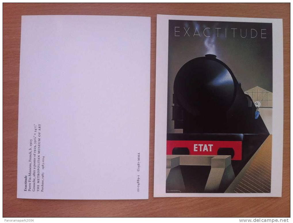 FRANCE CARTE POSTALE EXACTITUDE ETAT TRAIN PUB FIX-MASSEAU METROPOLITAN MUSEUM OF ART NEW YORK 1987 - Trains