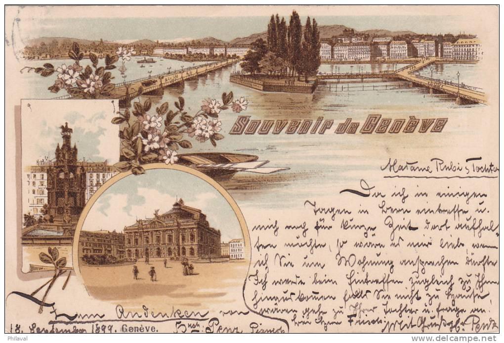 Genève : Belle Lythographie Oblitérée Le 19.IX.1899 - GE Genève