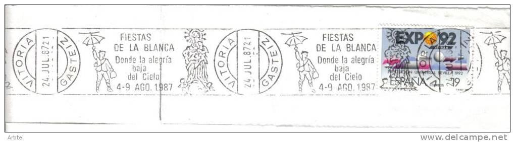 VITORIA ALAVA MAT RODILLO RECORTADO 1987 FIESTAS DE LA BLANCA CELEDON VIRGEN - Sin Clasificación