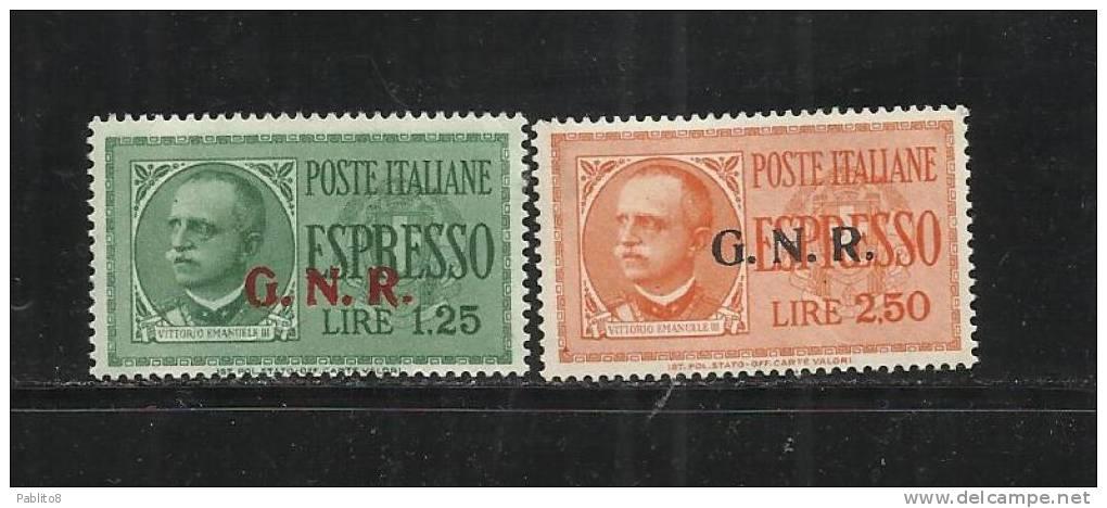 REPUBBLICA SOCIALE 1944: GNR ESPRESSI SERIE COMPLETA MNH SOPRASTAMPE DEL II E III TIPO - 4. 1944-45 Repubblica Sociale