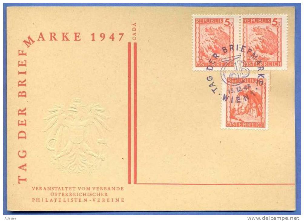 Tag Der Briefmarke, 5+5+10 Gro, Gelaufen, Prägedruck Österreich Wappen - Gelaufen 1947 - 1945-.... 2. Republik