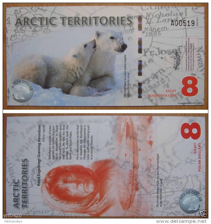 Arctic Territories $8 Polymer Banknote 2011 UNC - Billetes