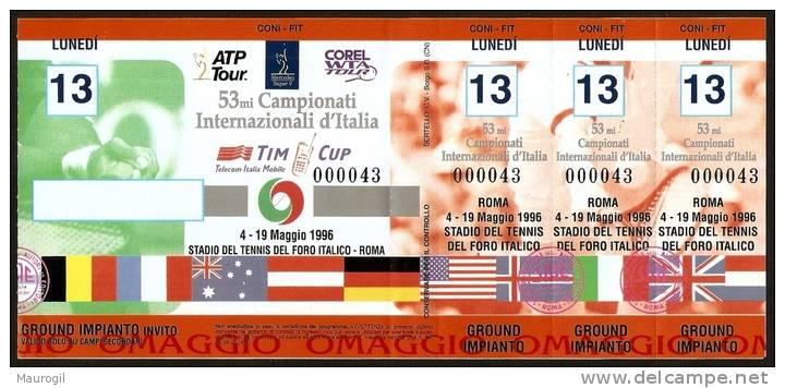 ITALIA ROMA 1996 - TICKET 53^ CAMPIONATI INTERNAZIONALI D´ITALIA TENNIS - GIORNO 13.05.1996 -GROUND IMPIANTO - UNUSED - Tickets - Vouchers