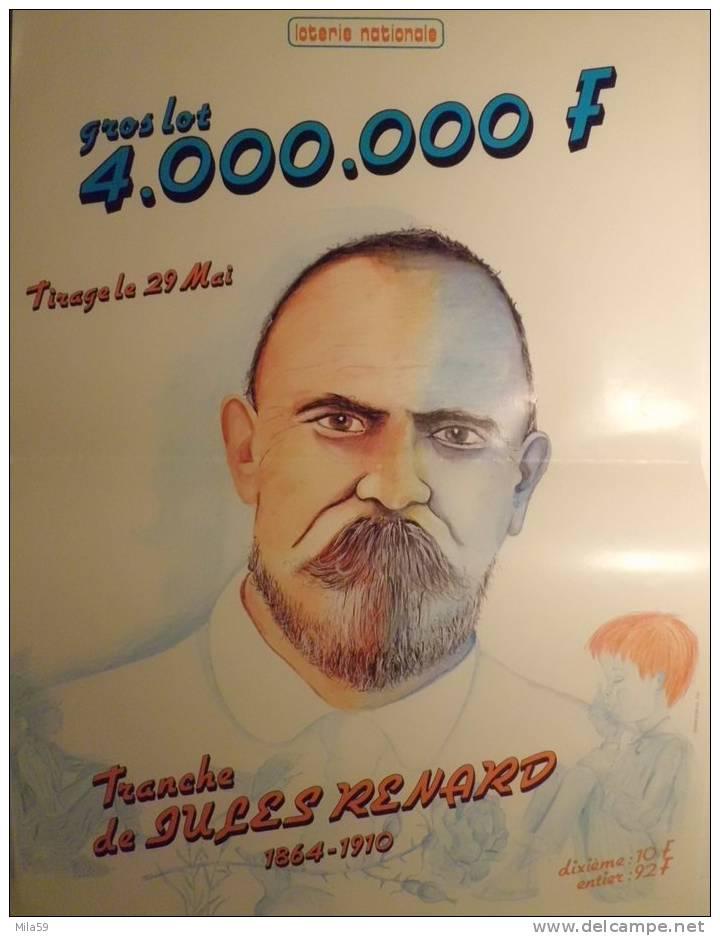 Affiche de la Loterie Nationale. Tranche de Jules Renard 1864-1910