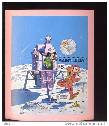 #  516  MINT NEVER HINGED SOUVENIR SHEET OF DISNEY ; MOONWALK    (  ST.LUCIA  500 - Disney