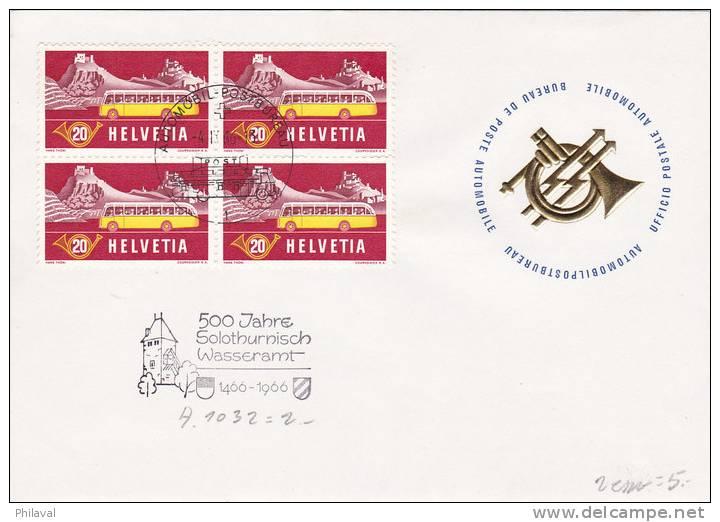 Nos 314 Et 315 En Blocs De 4 Oblitérés Du Bureau De Poste Automobile // Flamme 500 Jahre Solothurnich Wass - Lettres & Documents