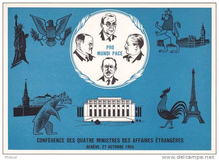 Cachet : Conférence Des 4 Ministres Des Affaires Etrangères // Genève 27.X.55 - Pen S 401, Sur Cart - Brieven En Documenten