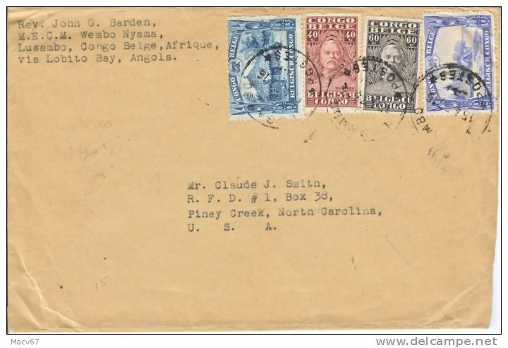 Belgium Congo Cover  LUSAMBO Via Angola To U.S.A. 1930's - Belgian Congo
