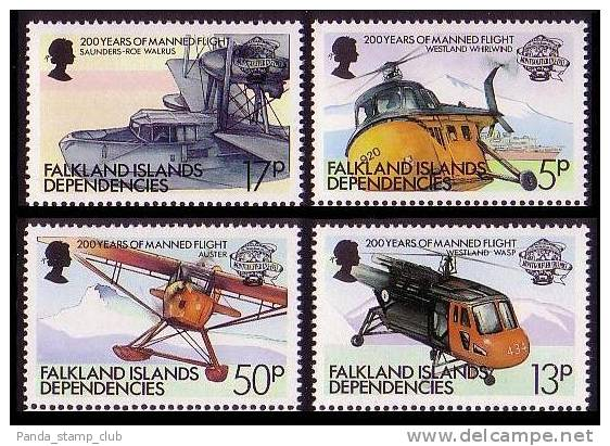 Falkland Is. Dep. Manned Flight 4v SG113/16 - Aviones