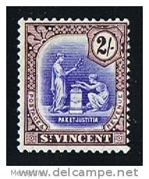 ST VINCENT  Peace And Justice 2/-  Wmk Multiple Script CA  SG 131 * MH - St.Vincent (...-1979)