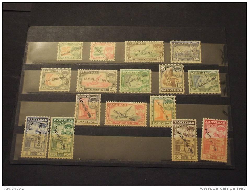 ZANZIBAR - 1964 PITTORICA 16 Valori SOPR. A MANO- NUOVI(++)-TEMATICHE - Zanzibar (1963-1968)