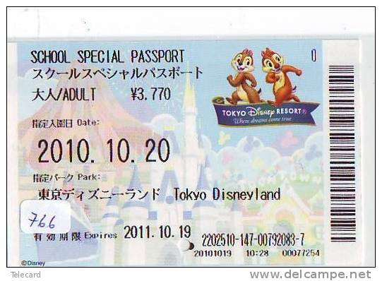 Disney * PASSPORT * Entreecard JAPON * TOKYO DISNEYLAND Passeport (766) JAPAN PASS * CINEMA * FILM * CHIP AND DALE - Disney