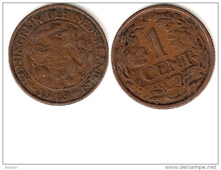 Netherlands 1 Cent 1919  Km 152 Vf+ - [ 3] 1815-… : Royaume Des Pays-Bas