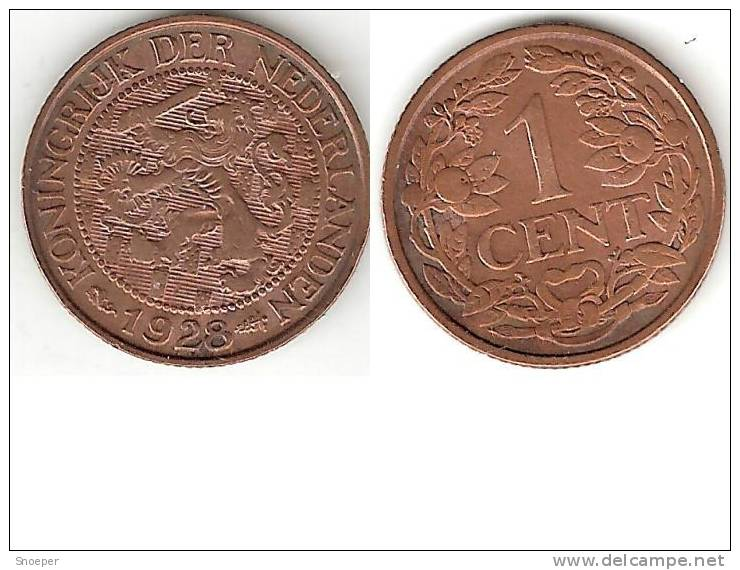 Netherlands 1 Cent 1928  Km 152 Xf - [ 3] 1815-… : Royaume Des Pays-Bas