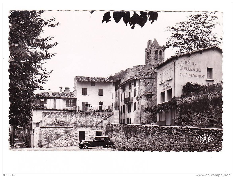 CPSM - 66 -  PRATS De MOLLO - Partie Du Foiral Et Vue Sur Le Clocher - 1959 - Hotel Bellevue - Traction Citroen - France
