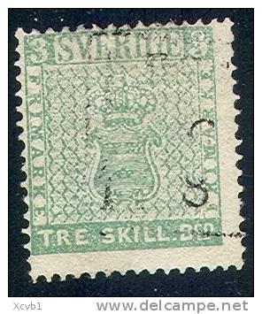 # Sweden    1, Used, Just 4 Margins, RARE SCV $5000,   (sw001-2, Michel 1 - Used Stamps