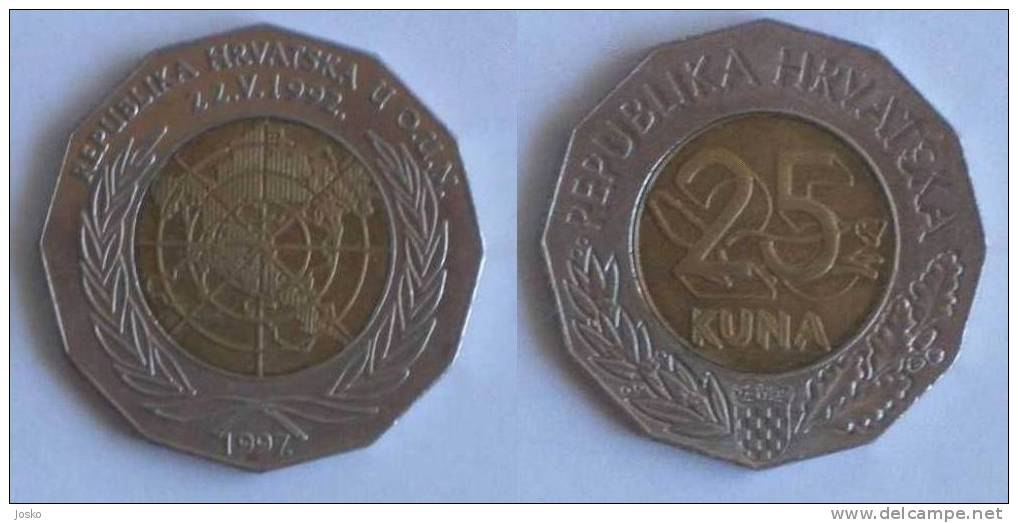 25. KUNA  1997. Republic Croatia In United Nations * Bi-metallic Bimétallique Bimetalica Bimetallica Coin Monnaie Monete - Croatia