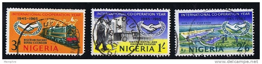 NIGERIA 1965  International Cooperation Year  SG 166-8  Used - Nigeria (1961-...)