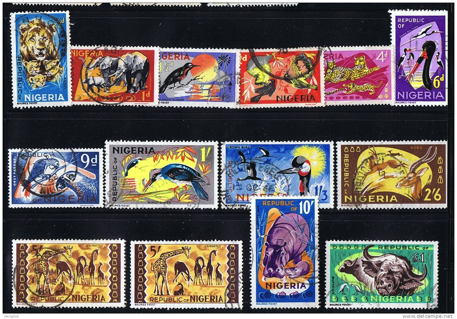 NIGERIA 1963  Animals Definitives  (Only Missing 3 D. Value)  SG 173-185  Used - Nigeria (1961-...)