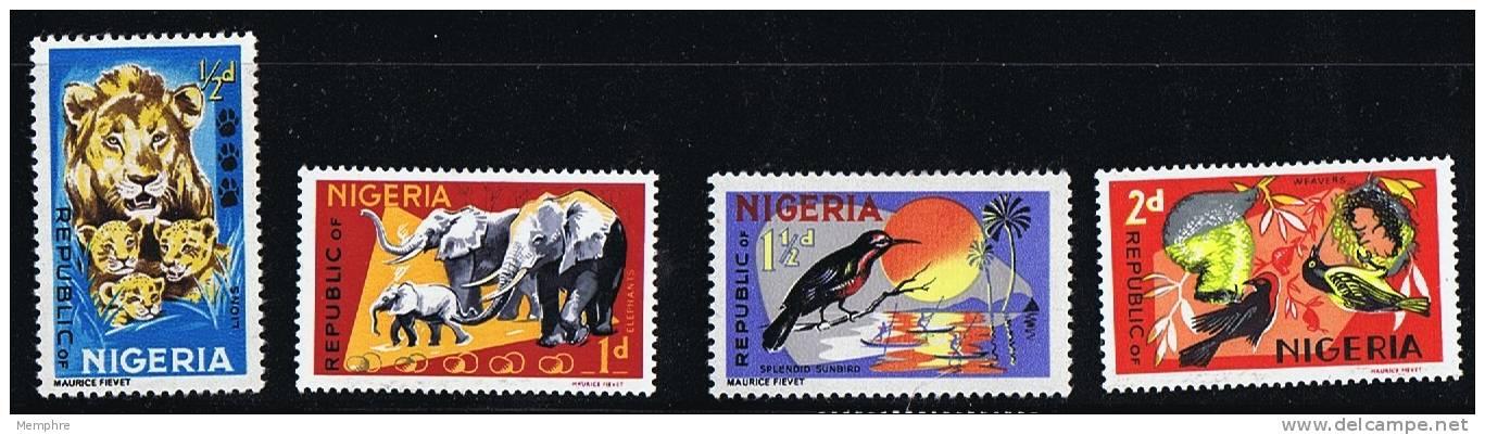 NIGERIA 1965  Animal Definitives Lion, Elephants, Birds  SG 172-5  MH * - Nigeria (1961-...)