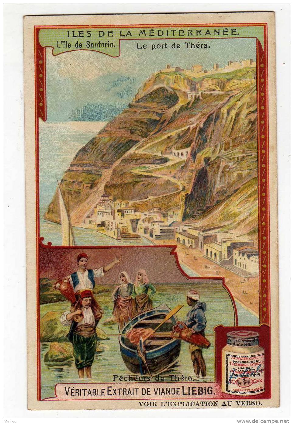 Chromo   Liebig  S 934  Îles De La Méditerranée  Île De Santorin Le Port De Théra Pêcheur Urne Vase Femme Pays Ville - Liebig