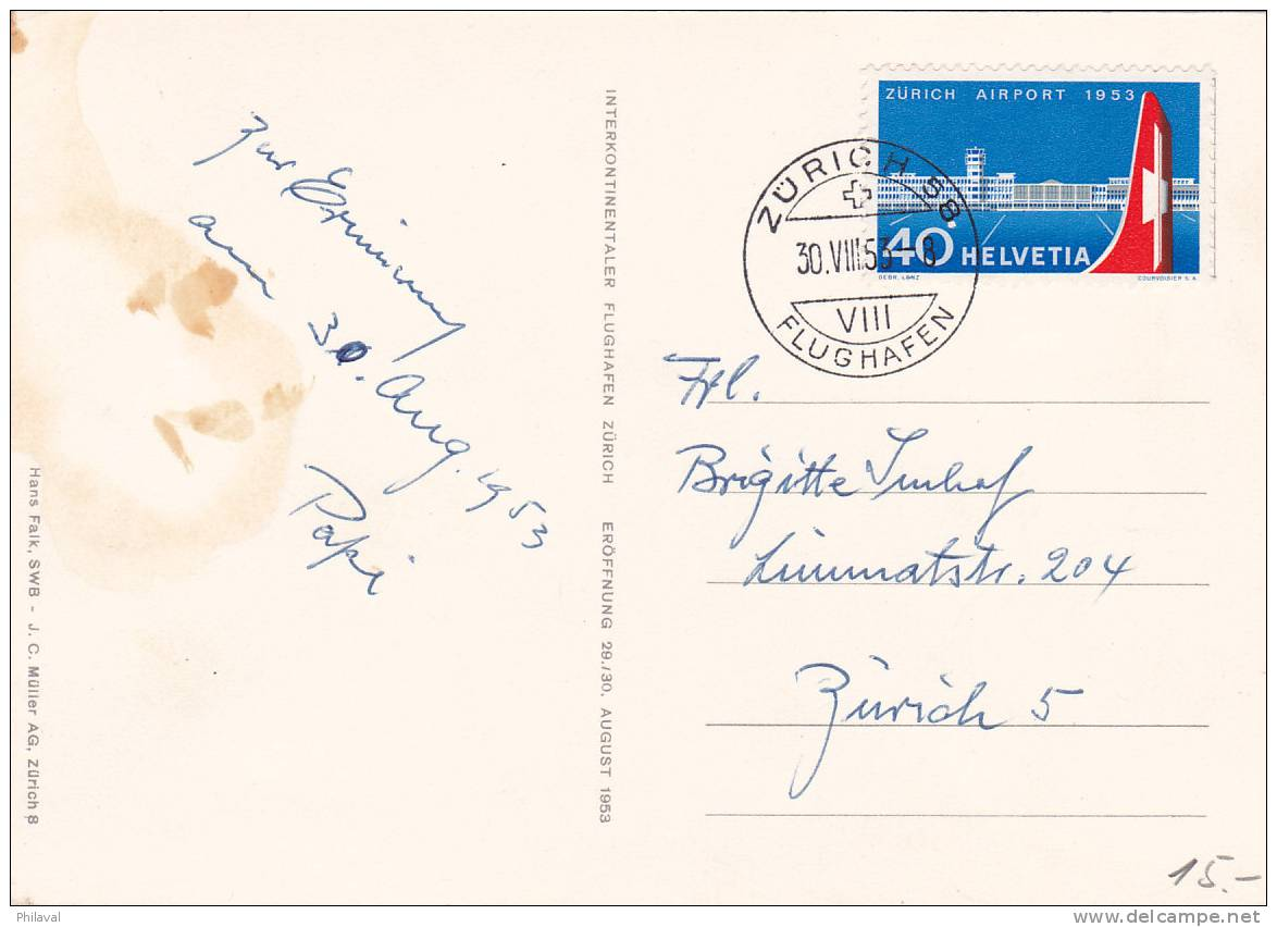 No 313 Sur Carte Postale Oblitérée Du Cachet De Zürich Flughafen Le 30.VIII.1953 - Suisse