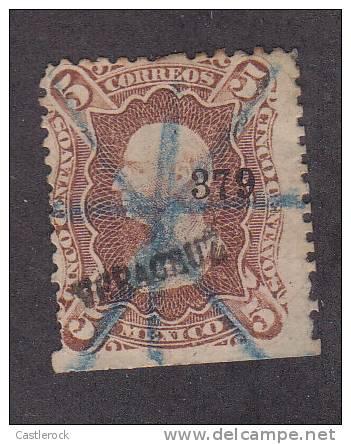 A)HIDALGO 1872 5 CTVS VERARUZ BLUE MANUSCRIPT NOT RECORDED - Mexico