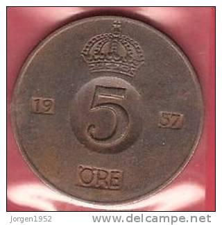 SWEDEN   # 5 ØRE  BRONZE FROM YEAR 1957 - Suède