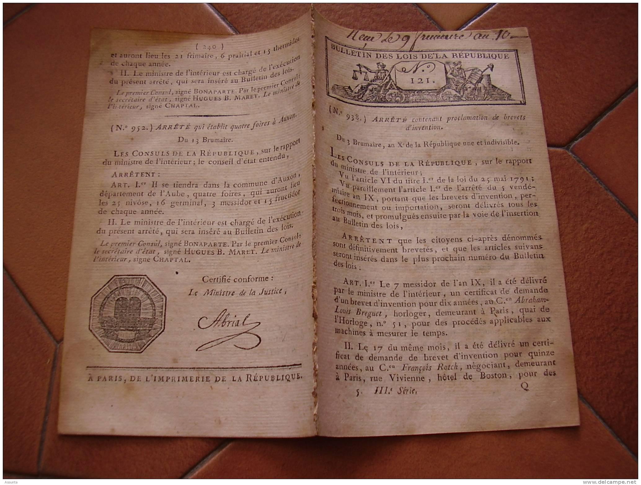 Bonaparte 1er Consul : Brevets. Paix France Portugal. Nomenclature Dépenses. Congés Militaires. Préfet Ardèche, Tarn.... - Decreti & Leggi