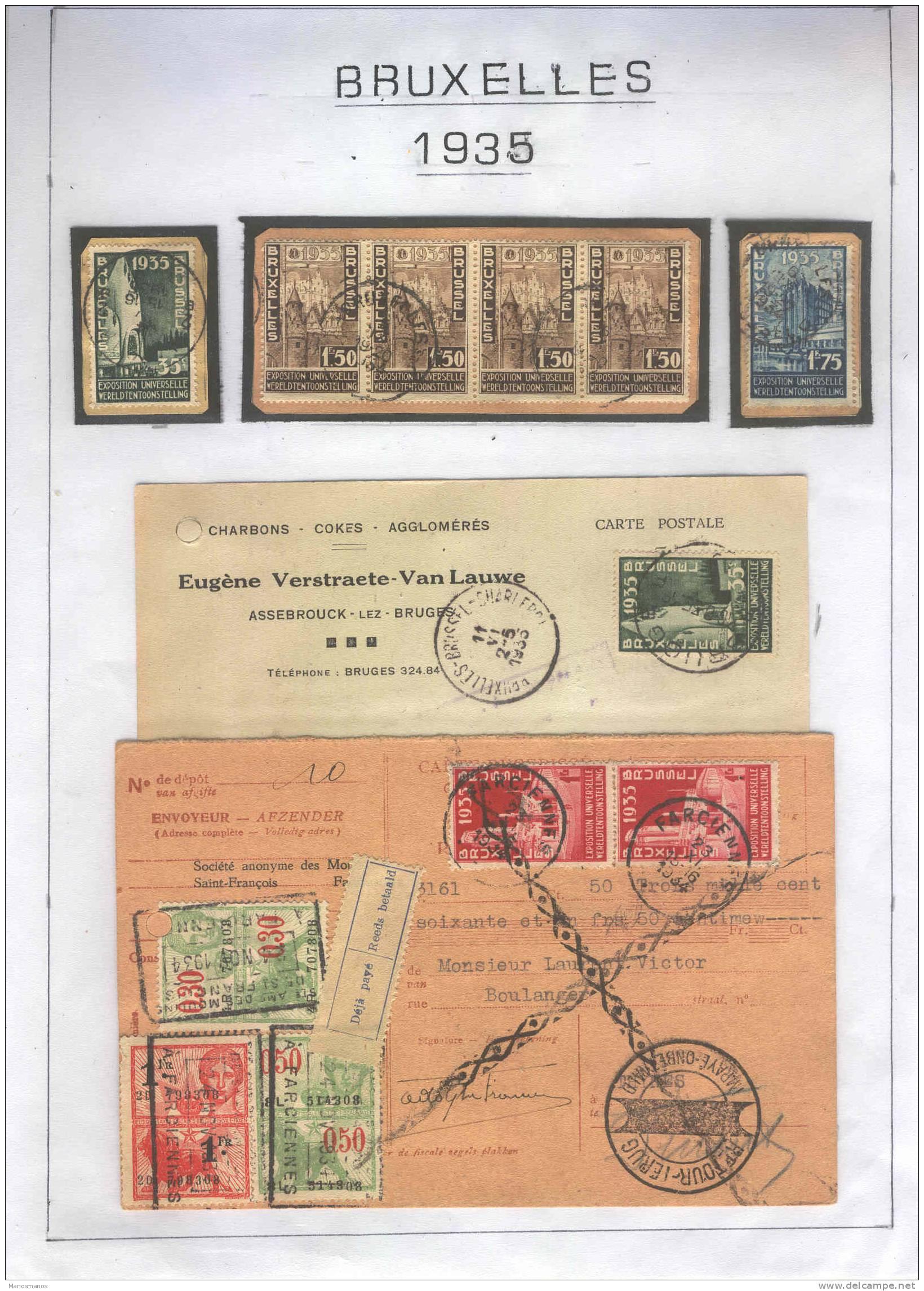 831/17 -  Belgique EXPO Internationale BRUXELLES 1935 -  Timbres Sur Fragments Et 2 Documents - 1935 – Brüssel (Belgien)