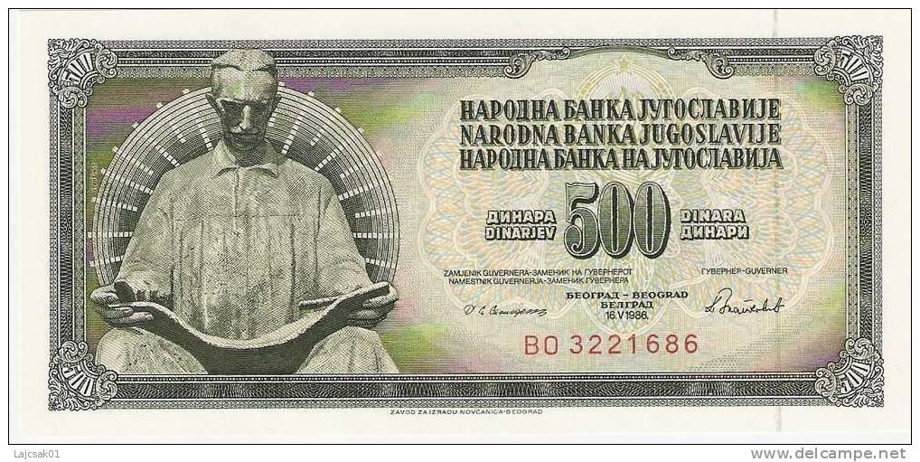 Yugoslavia 500 Dinara 1986. UNC - Yougoslavie