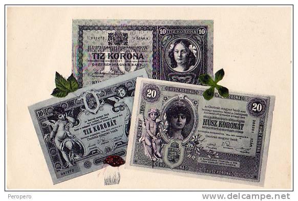 AK UNGARN Papiergeld  TIZ KORONA  HUSZ KORONA OLD POSTCARD - Banques