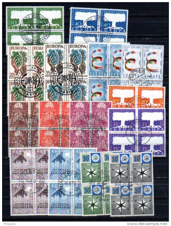 Europa 1957, Année Presque Complète En Bloc De 4 Oblitérés,      Cote 217 €, - Europa-CEPT
