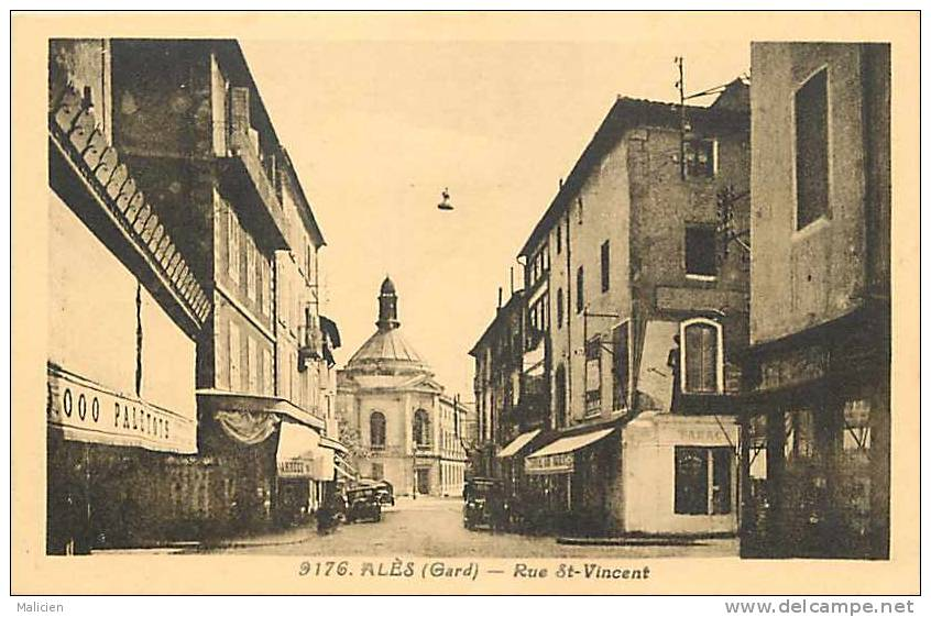 Depts Divers - Gard  -ref B456- Alès- Rue St Vincent - Carte Bon Etat - - Alès
