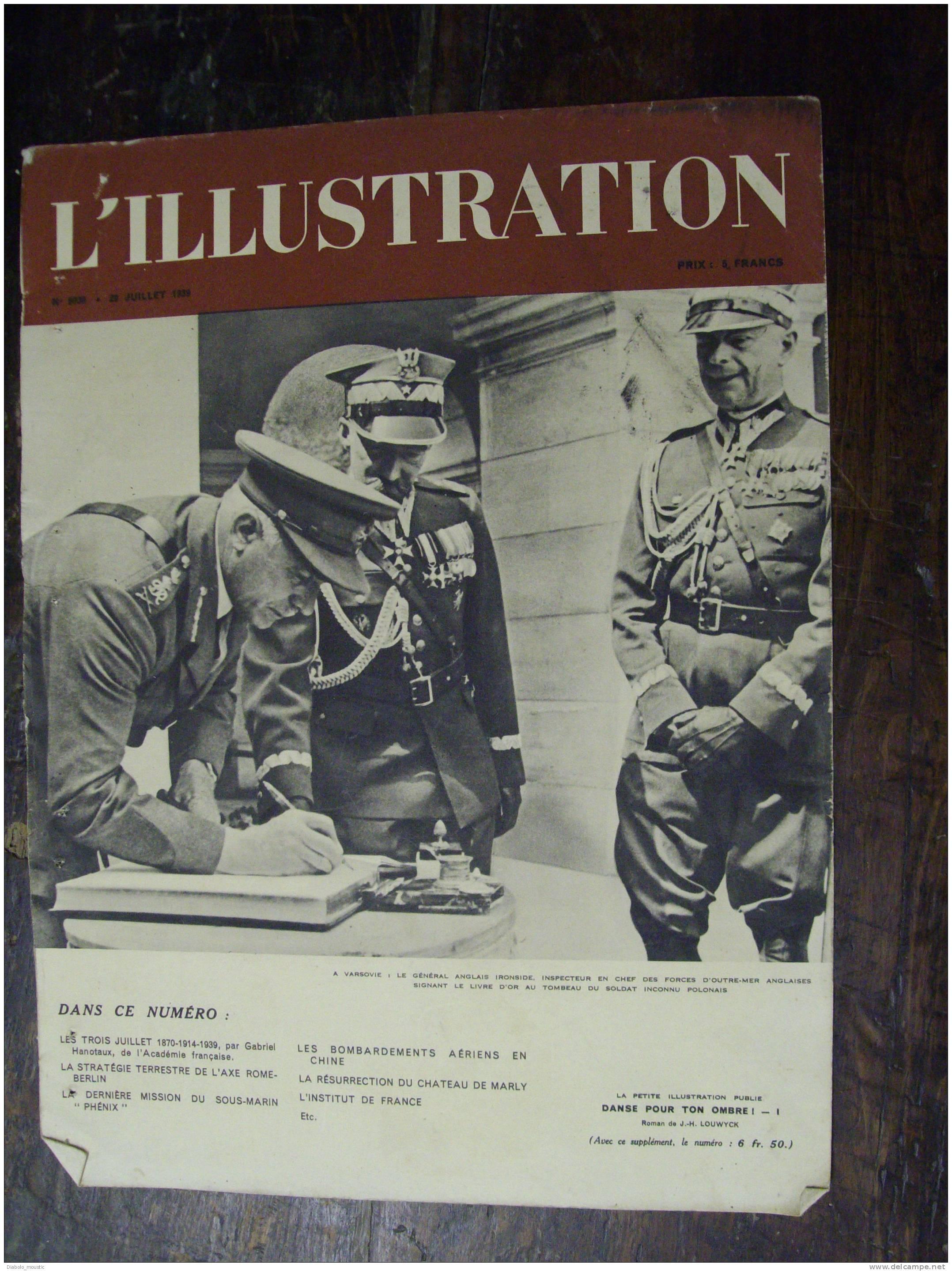 Couverture De Garde Du N° 5030  Du 29 Juillet 1939 ..A VARSOVIE LE GENERAL ANGLAIS SIGNE LE LIVRE D´OR AU TOMBEAU DU ... - Zeitungen